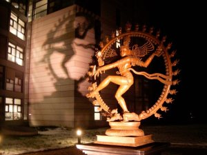 Shiva greets you at the entrance of the LHC complex